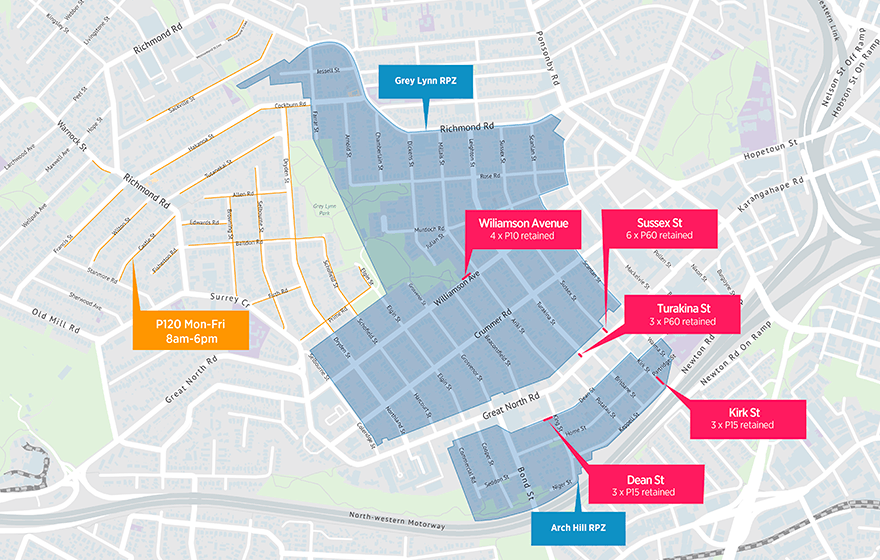 Arch Hill & Grey Lynn Residential Parking Zone Map