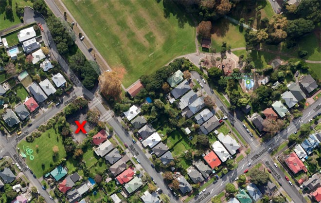 Elgin Street car park, Grey Lynn Park, the location of the dog attack