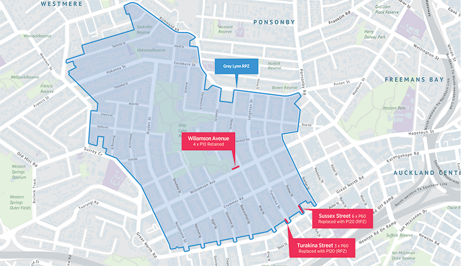 Grey Lynn map of proposed residential parking zone