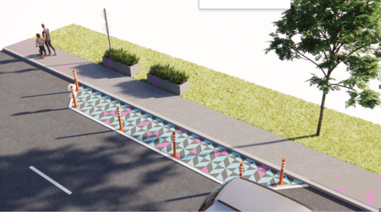 Street artwork being used in the Grey Lynn Primary traffic-calming trial was chosen by the school and weaves together Pasifika and Māori designs